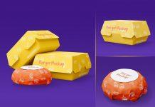 Free Takeaway Burger Food Packaging Mockup PSD Set