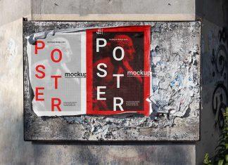 Free Torn Street Poster Mockup PSD