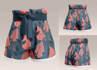 Free Women's Paperbag Shorts Mockup PSD Set