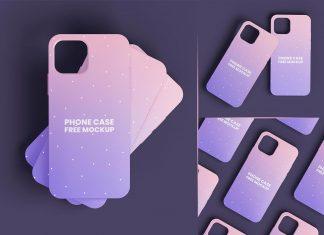 Free iPhone 13 Phone Case Mockup PSD Set
