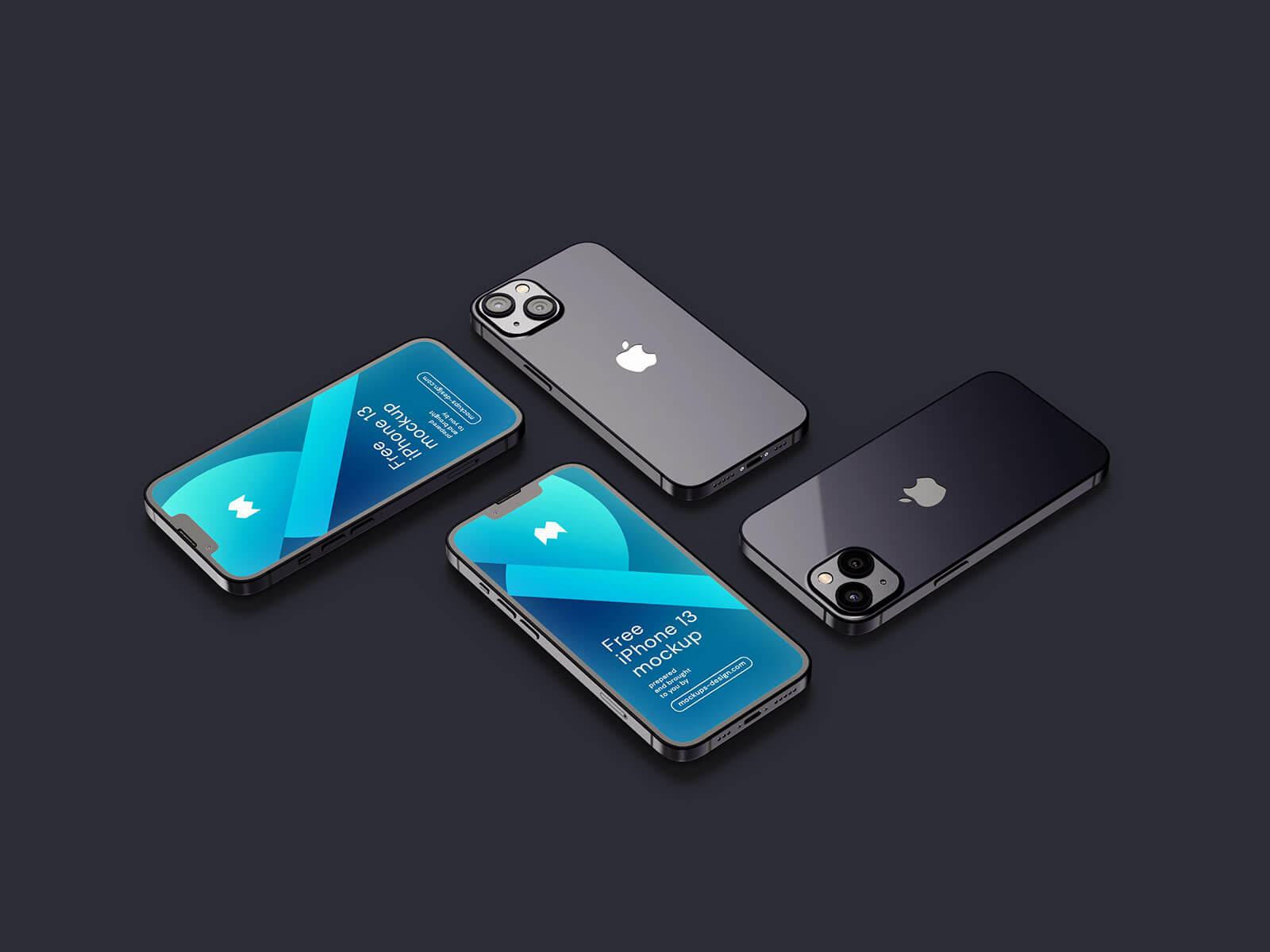 6 Free Realistic iPhone 13 3D Rendered Mockup PSD Set (1)