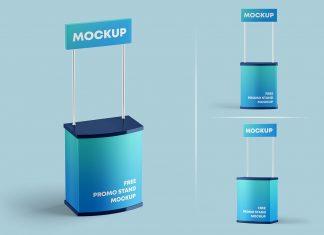 Free Promo Display Marketing Stand Mockup PSD Set