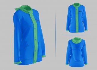 Free Rain Coat Jacket Mockup PSD Set